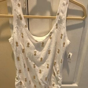 Old Navy maternity pineapple tank top gold NWT